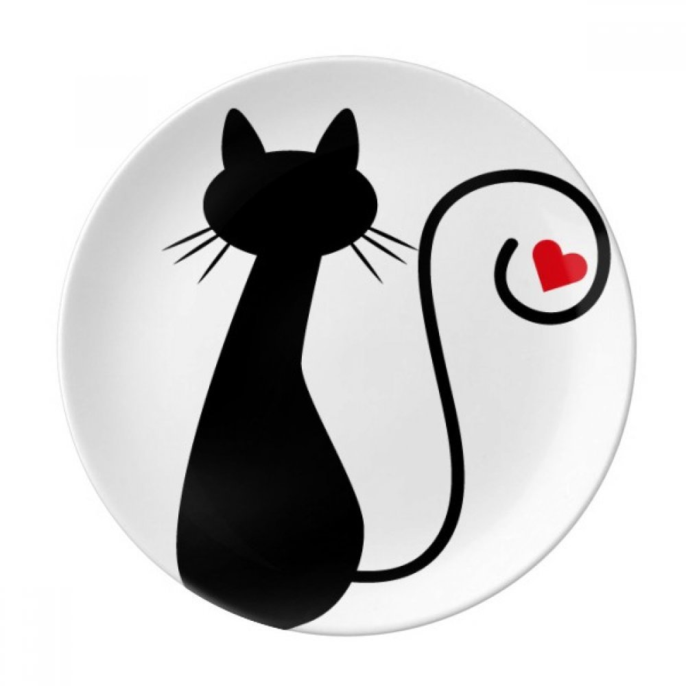 Heart Cat Sit Sihouette Animal Dessert Plate Decorative Porcelain 8 inch Dinner Home