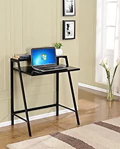 Kings Brand Furniture Tempered Glass With Metal Computer Desk Writing Table Black