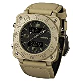 Night Vision INFANTRY® Mens Military Army Gold Tone Digital Analog Quartz Wrist Watch Real Leather Strap #FS-001-G-D-L