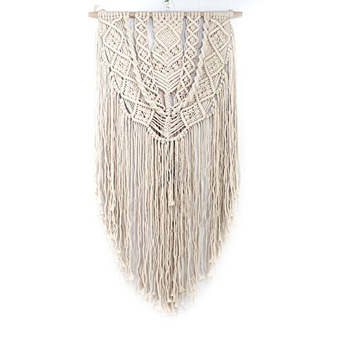 GSJJ Handmade Macrame Wall Hanging Tapestry-SJJJ-7190 Boho Chic,Cotton Rope Cord Woven Tapestry,Nordic Style Apartment Living Room Bedroom Decorations,23'' W X 57'' L,Beige,59.5145Cm(23'' 57'') by GSJJ