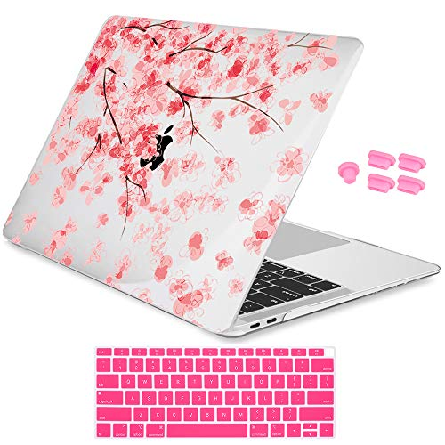 (Redlai Pink Keyboard Cover Skin and Dust Plug Plastic Cherry Blossom Crystal Hard case for MacBook Air 13 inch 2018 Release with Touch ID Retina Display, Cherry Blossom 2)