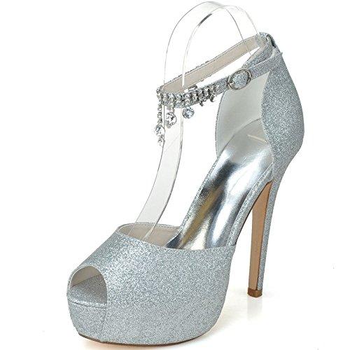 Qingchunhuangtang@ Tobillo Femenino Sandalias Tacones Peep Toe Cintas Boda Zapatos Corte Prom,Plata,35 35|Silver