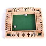 Vidatoy Deluxe Four Sided 10 Number Shut the Box Board Game Wooden Toy