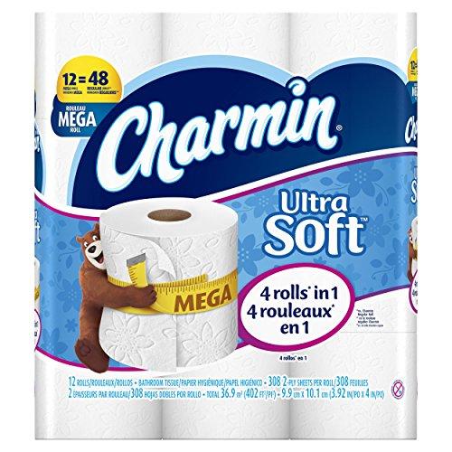 Charmin Ultra Soft Toilet Paper, Mega Roll, 12 Count ()