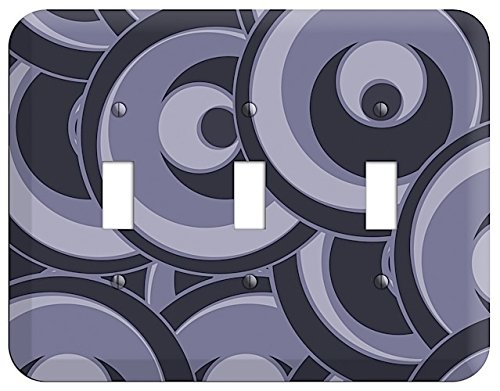 (Black and Purple-grey Deco Circles Triple Toggle Switchplate)