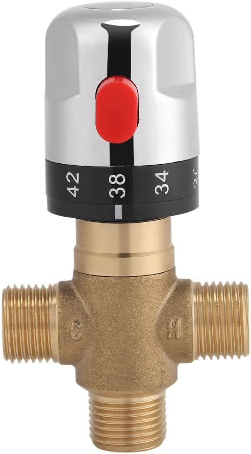 Zerodis Thermostatic Mixing Valve Solid Brass G1/2 for Shower System Water Temperature Control Pipe Basin Thermostat Control