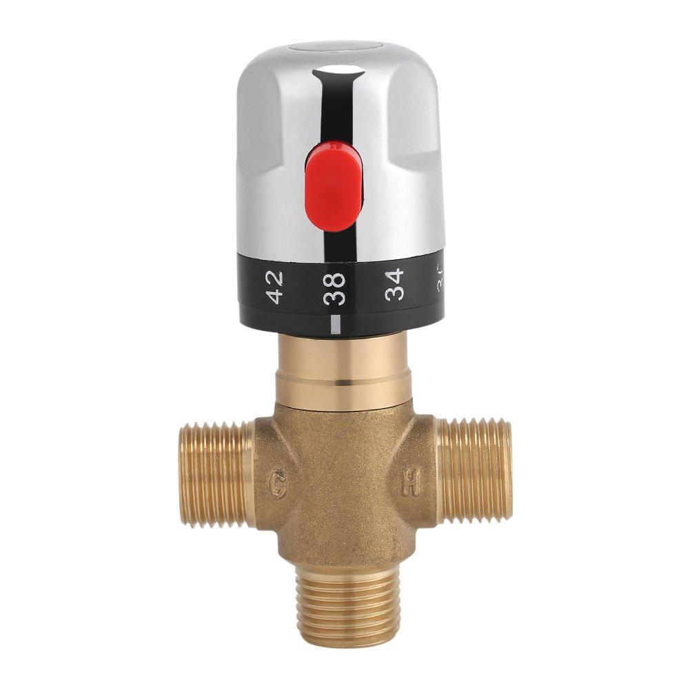 Brass Thermostatic Mixing Valve 15 mm Sensitive Temperature Pipe Basin Thermostatic Mixing Valve for Bathroom Washroom Kitchen Wash 1/2''