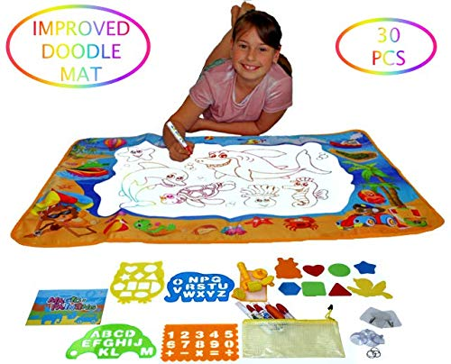 Best kids Water Toys Doodle Mat for Toddlers is FULLY EQUIPPED WITH DRAWING ACCESSORIES - Enjoy More Fun with Water Painting, Magic Water Drawing mat is Mess Free, Hang It on a WALL - EXCLUSIVE VERSIO ()