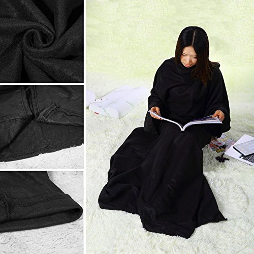 Jocestyle Supper Home Winter Warm Fleece Blanket Robe Cloak with Sleeves (Black with Sleeve)