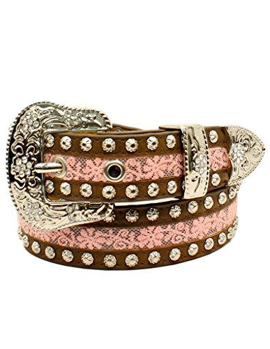 - Ariat Girl's Floral Lace And Silver Studs Belt, Pink, 26