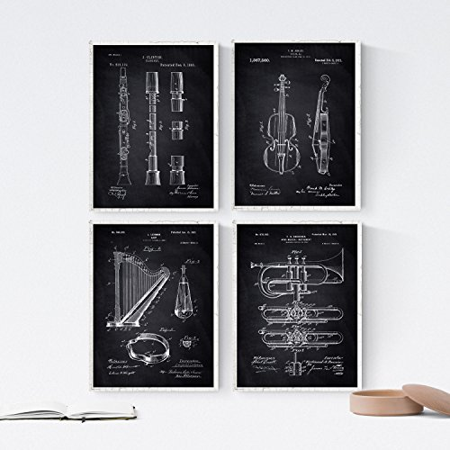 Nacnic Black - Pack of 4 Sheets with patents Musical Instruments. Set Posters with Inventions and Old patents. Choose The Color You Like. Printed on 250 Grams (Instruments Posters)