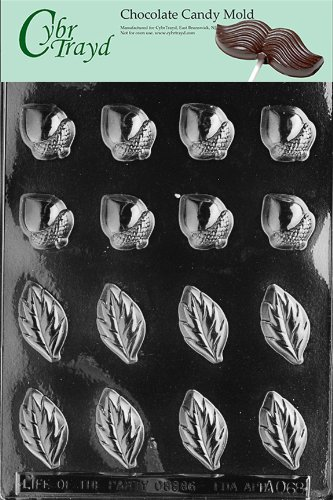Cybrtrayd Life of the Party AO068 Acorns and Leaves for Wreath Chocolate Candy Mold in Sealed Protective Poly Bag Imprinted with Copyrighted Cybrtrayd Molding Instructions