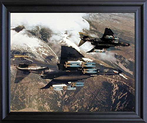 Impact Posters Gallery Aviation Framed Poster - F-4E Phantom with Missiles Military Jet Vintage Aircraft Wall Decor Black Art Print Picture ()