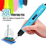 3D Printing Pen for Kids,Todoxi 3D Drawing Doodle Pen with LED Display and Model Making Arts and Crafts, Including 6 Colors 2M PLA Filament Refills, Creative Christmas Gift for Kids/Adults