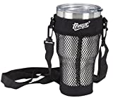 30oz Tumbler Carrying Pouch With Stainless Steel, Double Wall Vacuum Insulated Mug, Accessories Include Neoprene Hand Free Black Bag, Shatter Proof Lid, Regular Lid, Tea Infuser, Straw, Brush + eBook