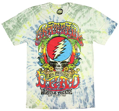 (Grateful Dead Shirt 15th Anniversary 1980 Warfield Theatre San Francisco Tie-Dye Adult T-Shirt (Large))
