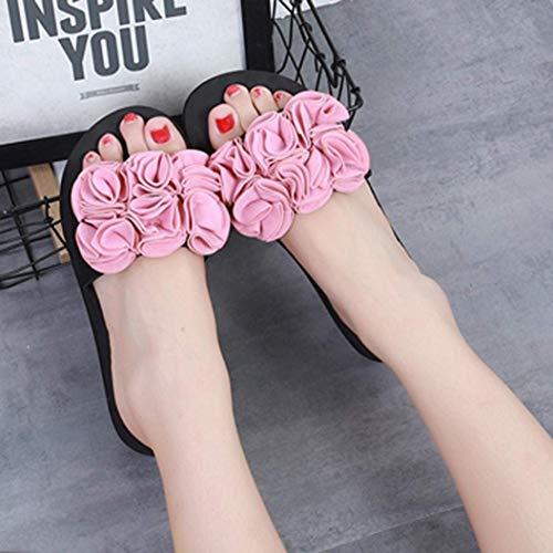 Dames Fleur Plate En Qiusa À Mousse Taille 39Rose 6coloréRougeUk Mémoire Pantoufles Des Femmes Sandales 2 6 5A4RjL3q