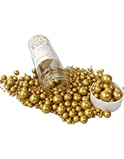Sprinkles Sugar Pearls 120g/ 4.6oz, Cupcake Cake Topper Mix Sprinkles for Baking Manvscakes Jimmies Cookie Crystal Decorating Nonpareils (Gold)
