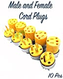 Paradise Harbor 10 Pieces Male Replacement Plug and Female Replacement Plug Replacement Male and Female Extension Cord Replacement End Electrical Wire Repair Replacement Plug End Set