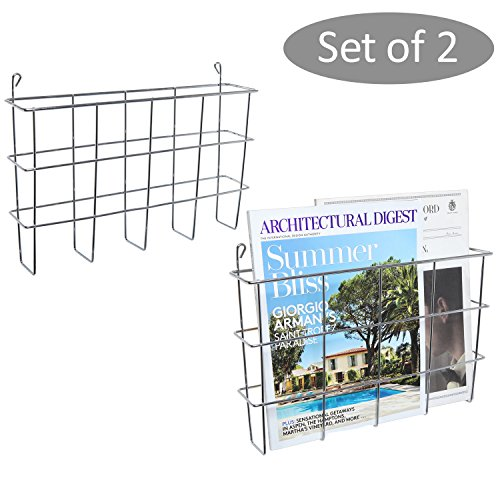 Modern Wall Mounted Silver Metal Document and Magazine Organizer Rack, Set of 2