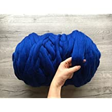 Merino wool yarn Chunky arm knitting blanket fiber Super bulky soft giant knit DIY large crafts for handmade thick massive knitted 21.5 microns huge extreme yarn queen size king bed throw Australian merinos (6.6 lbs (3 kg))