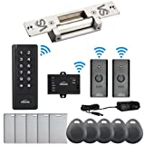 Visionis FPC-6369 Black Indoor One door Access control Outswing Door Wireless Keypad Reader Exit Button Wired 2200lb Electric Strike NC NO Long Plate 500 Users 50 Feet range Standalone No software Kit