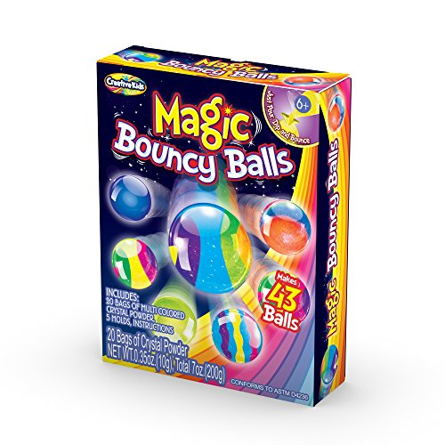 Creative Kids DIY Magic Bouncy Balls – Create Your Own Power Balls Craft Kit for Kids – Includes 20 Bags of Multicolored Crystal Powder & 5 Molds – Makes Up To 43 Balls