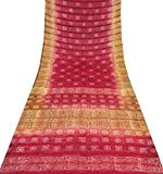 100% Pure Silk Sari Vintage Fabric Bandhani Printed Sarong Decor Used Crafted Wrap Maroon Dress Mirror Sequins Traditional Saree