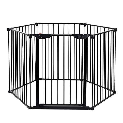 Price comparison product image Azadx Baby Safety Fence Fireplace Gate Fence,  141-Inch Wide Adjustable Baby Gate and Metal Play Yard with 6 Removable Panels (6-Panel)