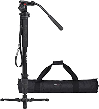 with H4 Fluid Head and Removable Tripod Base for DSLR Cameras and Camcorders Professional Video Monopod,Cayer 68 Inch CT35 Carbon Fiber Camera Monopod