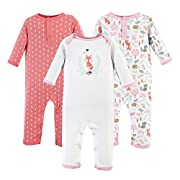 Hudson Baby Baby Cotton Union Suit, 3 Pack, Woodland Fox, 3 Months