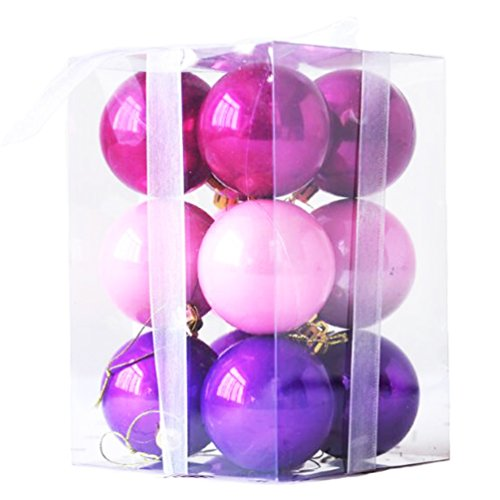 Nankoo 12ct Barrel Plating Multi Color Small Large Size New Year Christmas Xmas Tree Balls Set Ornaments 12pcs With Ropes (40mm/1.57