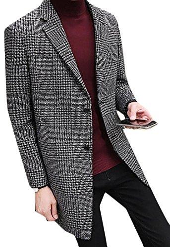 WSPLYSPJY Men's Houndstooth Plaid Pea Coat Woolen Coat Overcoat black XS