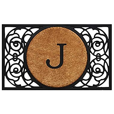 Home & More 180031830J Armada Circle Doormat, 18  x 30  x 1 , Monogrammed Letter J, Natural/Black