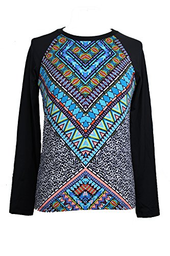 Bar III Blue Multi Mixed-Print Long-Sleeve Rashguard T-Shirt S (Iii Long Sleeve T-shirt)