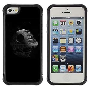 Híbridos estuche rígido plástico de protección con soporte para el Apple iPhone 5 / 5S - death black sci-fi movie classic minimalist