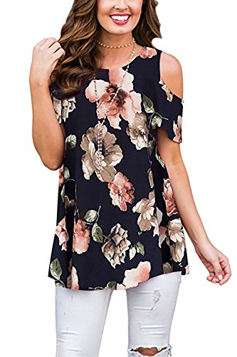 LOVEJIE Women Casual Short Sleeve Tops Tunic Blouse Swing Floral Printed Cold Shoulder T-Shirt (Black,X-Large)