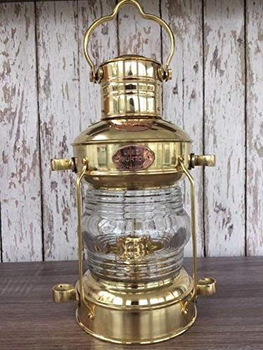 Rustic & Primitive Crafting Supplies (B) Manufactured to Look Antique Brass Anchor Oil Lamp ~ Nautical Maritime Ship Lantern ~ Boat Light Inspiration for A Project