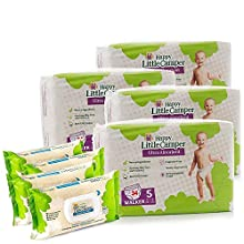 Happy Little Camper Natural Diapers, Flushable Wipes, Monthly Pack, Size 5, 136 Count