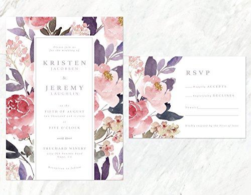 Autumn Wedding Invitation, Soft Flowers Invitation, Blush and Lilac Invitation, Rustic Wedding Invitation by Alexa Nelson Prints