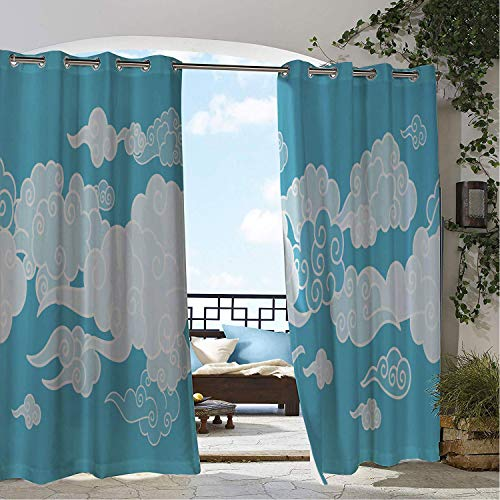 Linhomedecor Balcony Waterproof Curtains Clouds Fantasy World Themed Illustration Spiraling Cloudscape in The Sky Ba Blue Sky Blue Aqua White Porch Grommet Privacy Curtains 84 by 108 inch