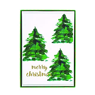 "Graphique Tree and Gold Dots Boxed Cards — 15 Glitter Embellished Holiday Cards with""Merry Christmas"" Pine Trees, Christmas Cards Includes Matching Envelopes and Storage Box, 4.75"" x 6.625"""