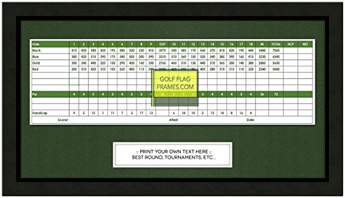 8x15 Black Golf Scorecard Frame, Moulding blk-001, Green - Golf Scorecard Frame