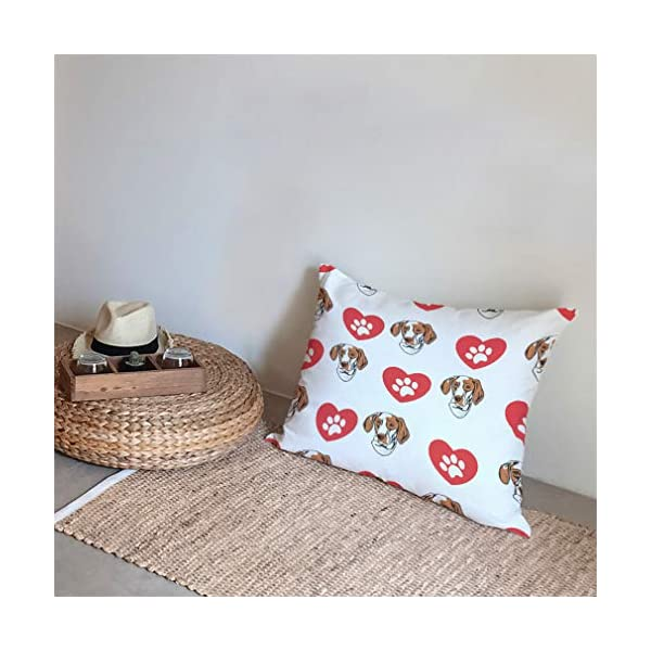 Style In Print Personalized Pillow Case Ariege Pointer Dog Heart Paws Polyester Pillow Cover 20INx28IN Design Only Set of 2 5