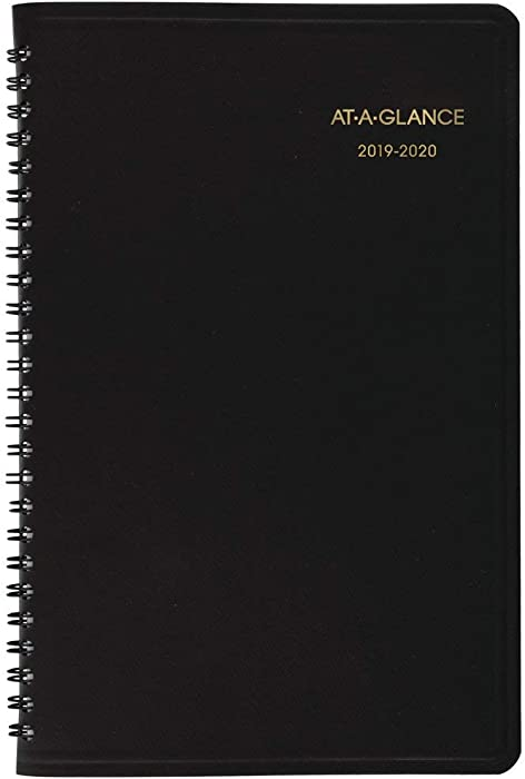 "AT-A-GLANCE Weekly Appointment Book, 2019-2020 Academic Planner, 5"" x 8"", Small, Black (7010105)"