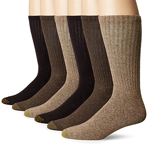 Casual Mens Socks - Gold Toe Men's Harrington Crew 6 Pack, Taupe Khaki Marl/Brown, Shoe Size: 6-12.5