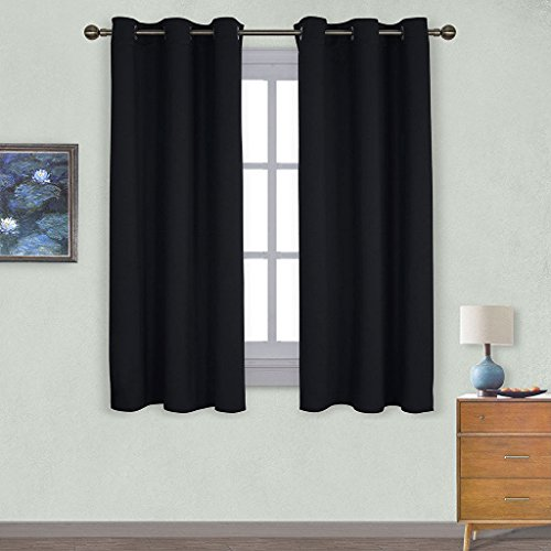 NICETOWN Pitch Black Solid Thermal Insulated Grommet Blackout Curtains    Drapes For Bedroom Window  2 Panels 42 Inch Wide by 63 Inch Long Black Wide Short Curtains  Amazon com. Short Curtains For Bedroom. Home Design Ideas