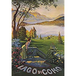 LAGO LAKE DI COMO WOMAN IN GARDEN ITALY TRAVEL LARGE VINTAGE POSTER REPRO