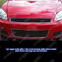 Fits 2006-2013 Chevy Impala Black Billet Grille Grill Insert Combo # C67817H