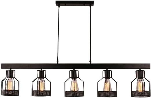 Lámpara de techo industrial, SUN RUN Lámpara de techo retro creativa de 5 luces Lámpara de techo vintage de metal semi empotrado con acabado pintado para cocina de comedor: Amazon.es: Iluminación